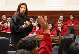 Chief Justice Tani G. Cantil-Sakauye answers questions from students visiting the California Supreme Court from McClatchy High School in Sacramento on February 6, 2013.