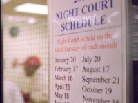 Image of sign for night court schedule