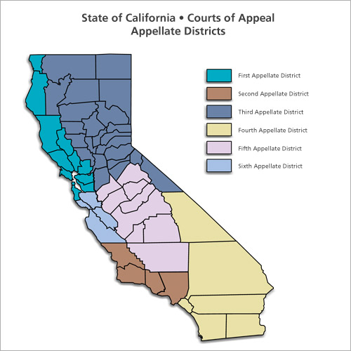 District Courts Of Appeal Regional Map DCA - Ca map