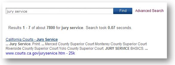 screen showing the first result for the term: jury service